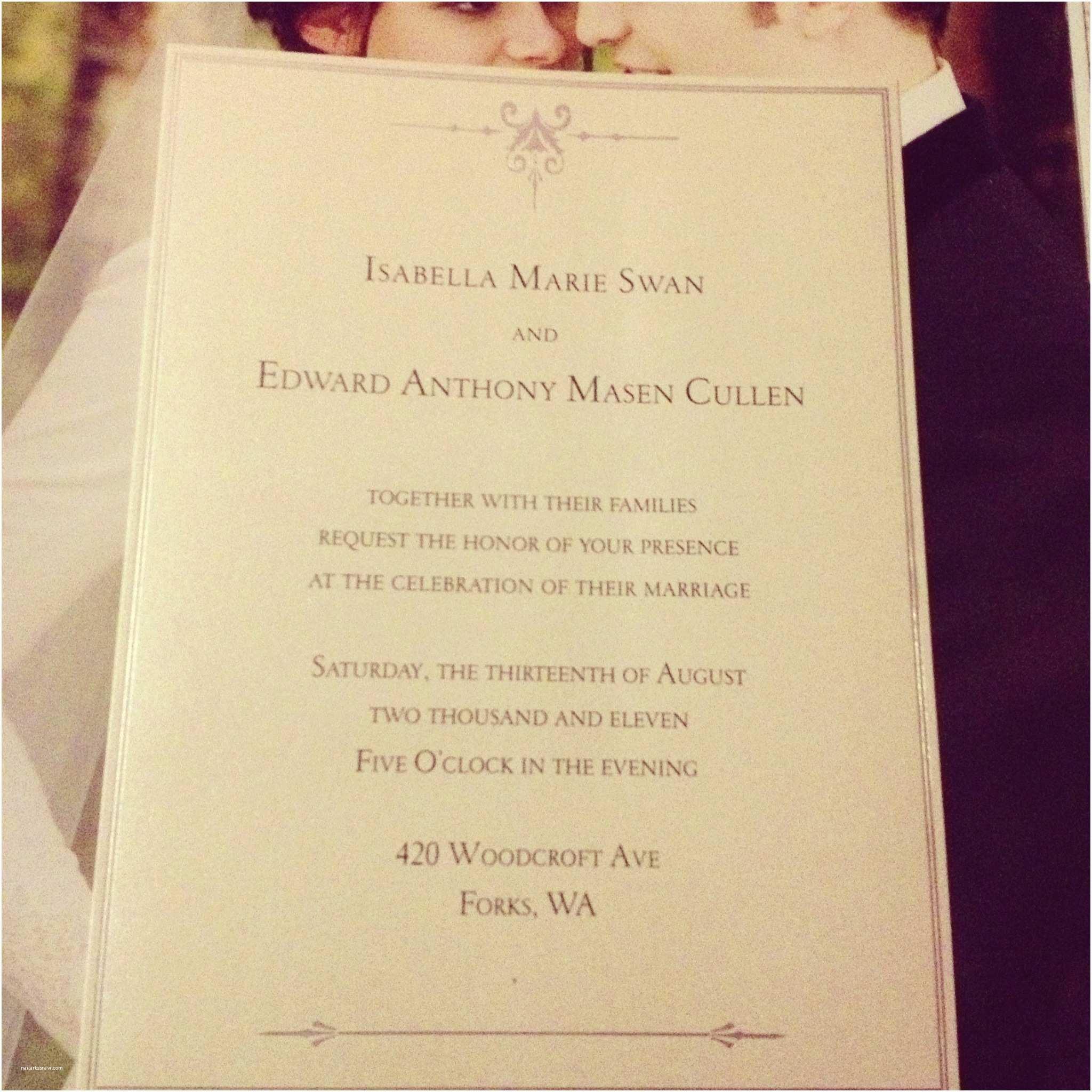 Twilight Wedding Invitation Wedding Invitation From the Twilight Saga Plete Fil