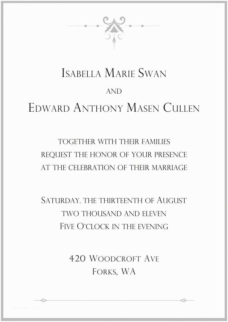 Twilight Wedding Invitation Wedding Invitation Twilight