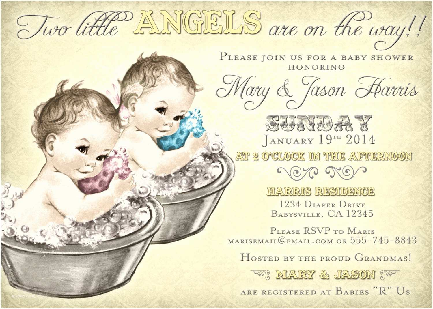 coed baby shower invitation for twins