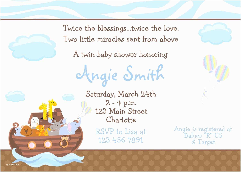 Twin Baby Shower Invitations Noah S Ark Baby Shower Invitation Twins Baby Shower