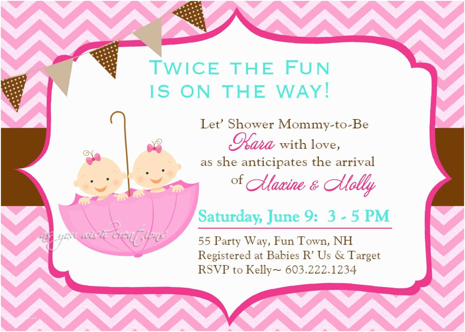 Twin Baby Shower Invitations Twin Baby Girl Shower Invitations