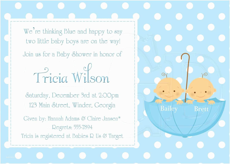 Twin Baby Shower Invitations Twin Boy Baby Shower Invitations