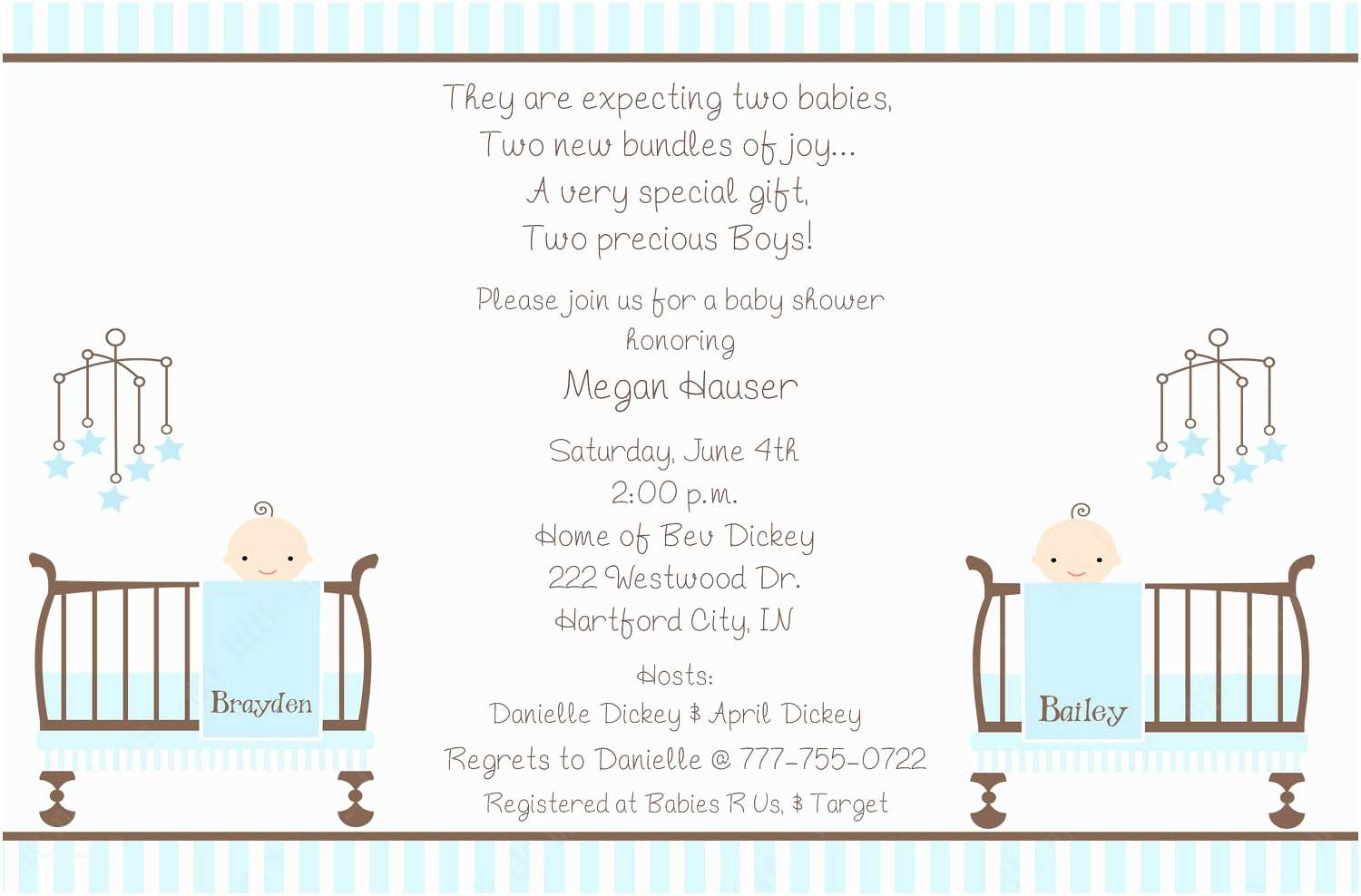 Twin Baby Shower Invitations Twin Boys Baby Shower Invitations