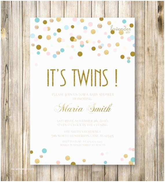 Twin Baby Shower Invitations Twins Shower Invitation It S Twin Gold Blue Pink Twin
