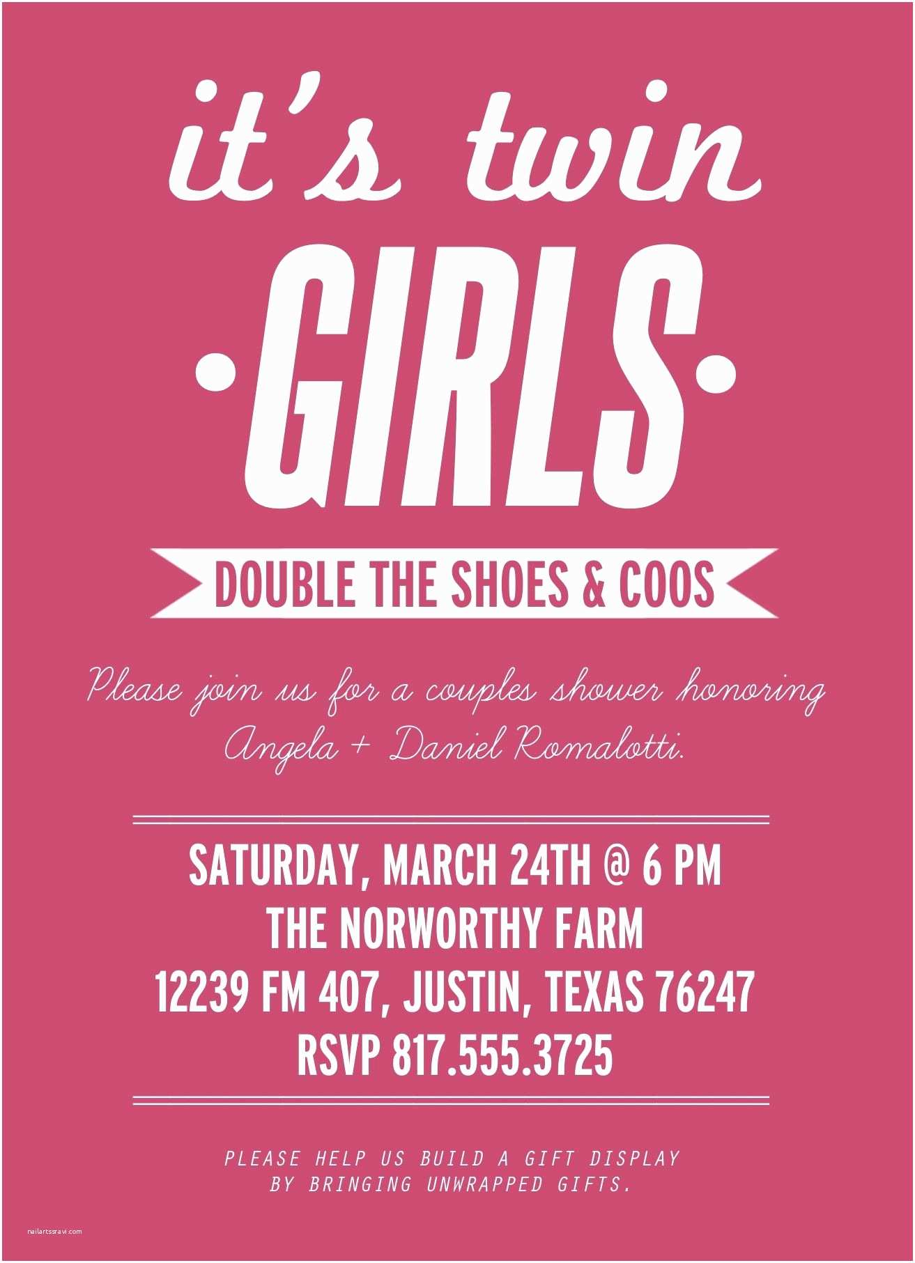 Twin Baby Shower Invitations Wording Ideas for Invites Baby Shower Twin Girls