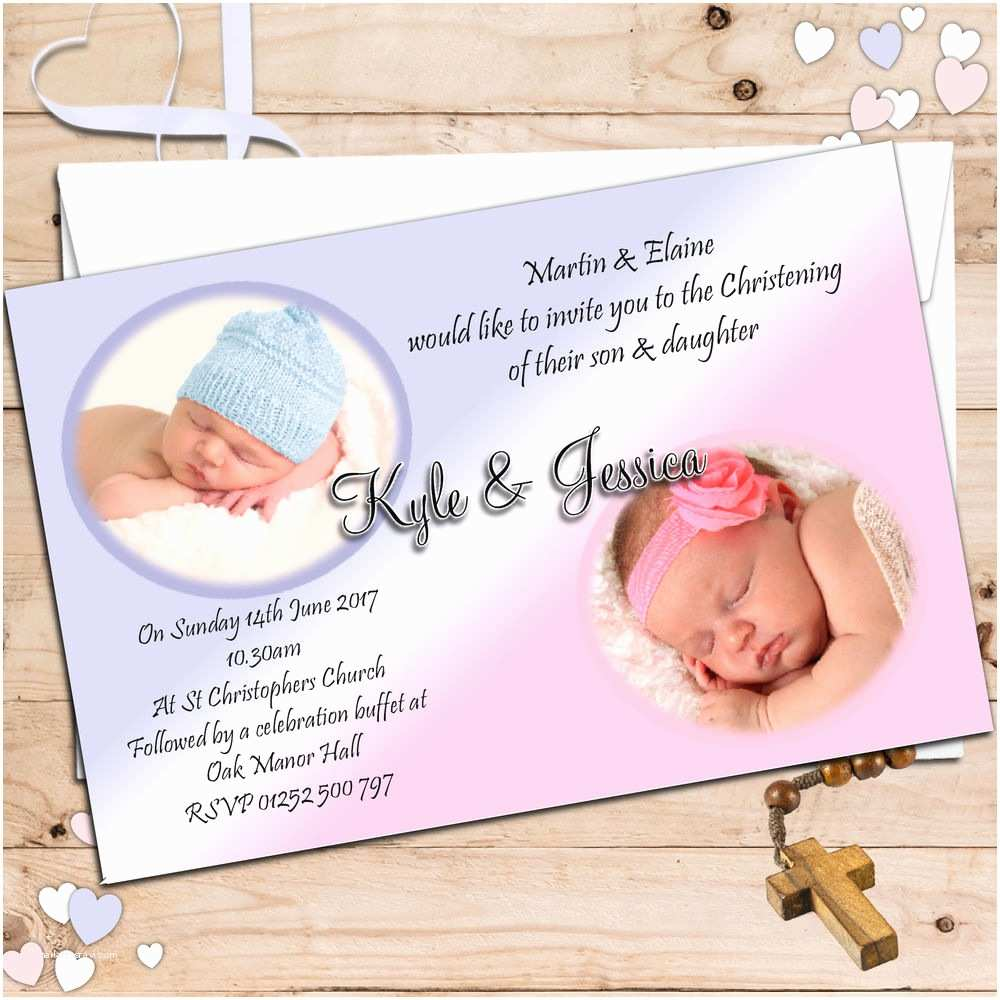 Twin Baptism Invitations 10 Personalised Girls Boys Twins Joint Christening