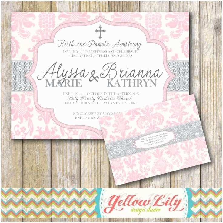 Twin Baptism Invitations Baby Girl Baptism Invitation Twins Girls Diy by