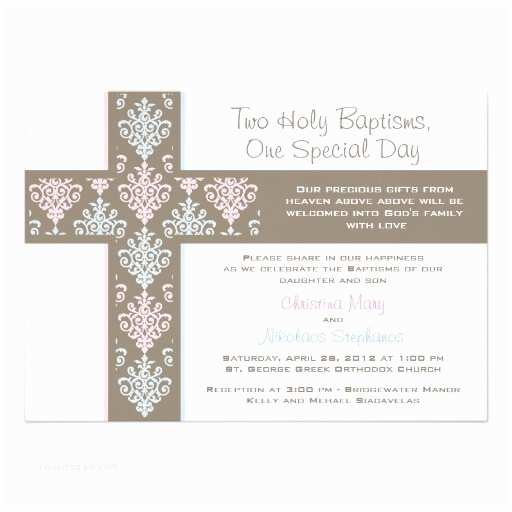 Twin Baptism Invitations Boy and Girl Twin Christening Invitation