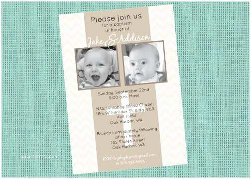 Twin Baptism Invitations Double Baptism Invitation Twins Baptism Invitation Double
