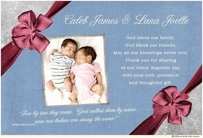 Twin Baptism Invitations formal Scripture Thank You Card Twin Boy & Girl Double