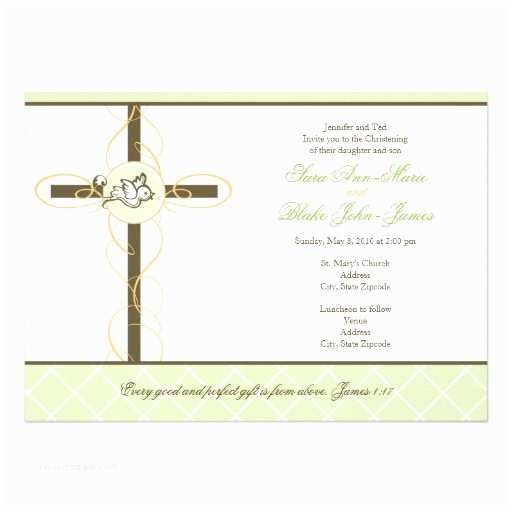 Twin Baptism Invitations Neutral Twins Christening Baptism Invitation
