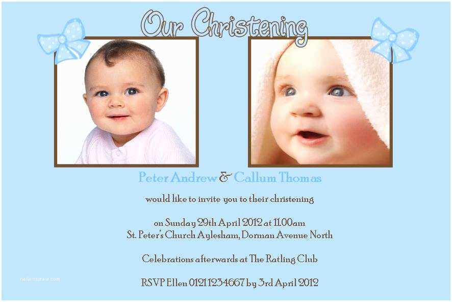 Twin Baptism Invitations Personalised Boy Twins Christening Invitations