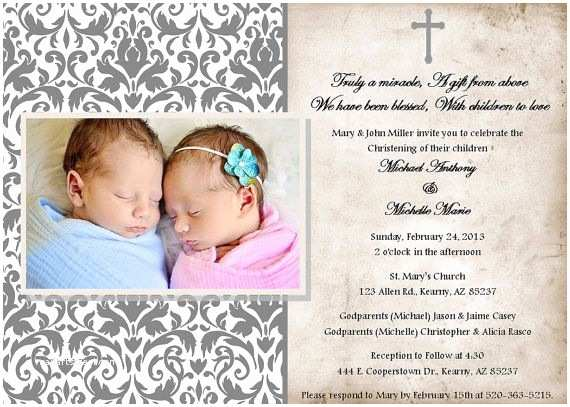 Twin Baptism Invitations Printable Christening Baptism Invitations by