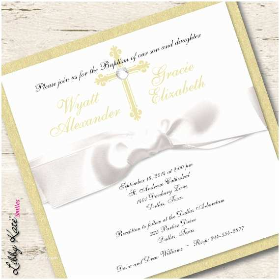 Twin Baptism Invitations Twin Baptism Invitation Christening Boy and Girl Gold