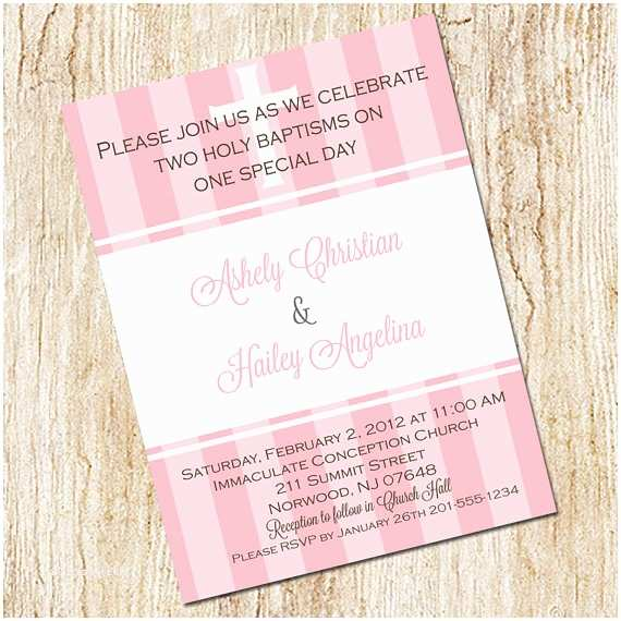 Twin Baptism Invitations Twin Baptism Invitation Digital File Christening Baby