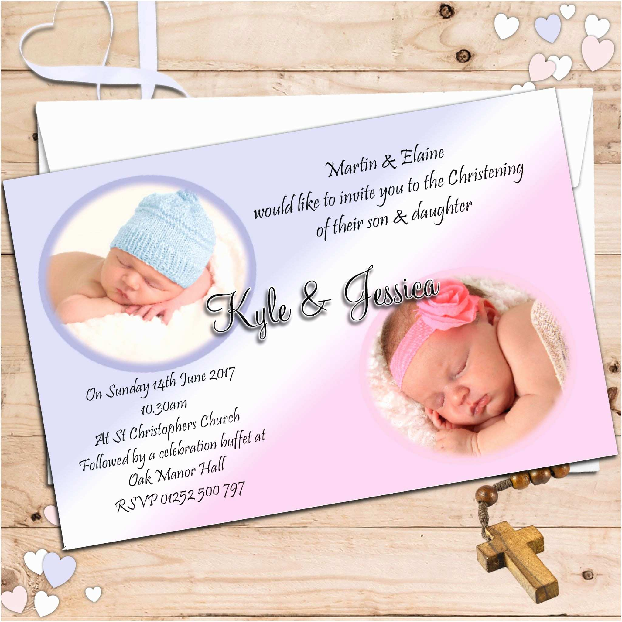 Twin Baptism Invitations Twin Baptism Invitations Twin Boy and Girl Baptism