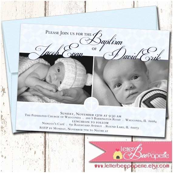 Twin Baptism Invitations Twins Custom Baby Boys Baptism Invitation by