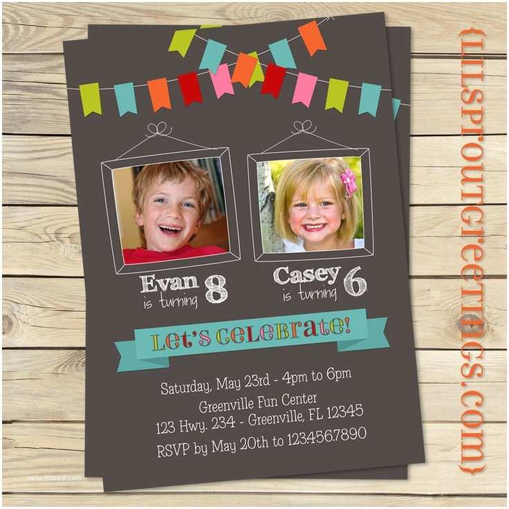 Twin Birthday Invitations Bunting Joint Twin Birthday Invitation Boy or Girl