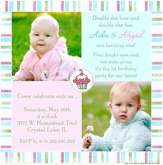 Twin Birthday Invitations Joint Birthday Party Invitation Bright Double Fun Festive
