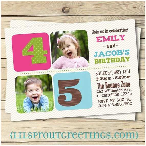 Twin Birthday Invitations Joint Twin Birthday Invitation Boy Girl or Boy