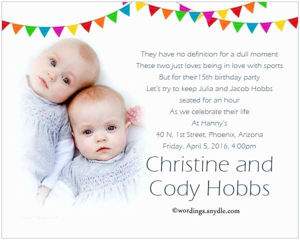 Twin Birthday Invitations Twin Birthday Party Invitation Wording Wordings and Messages