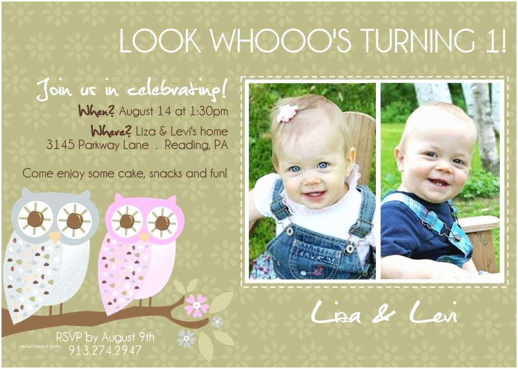Twin Birthday Invitations Twins 1st Birthday Invitation You Print