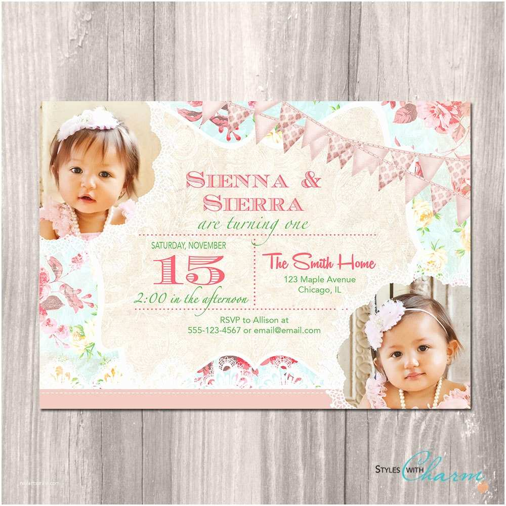 Twin Birthday Invitations Twins Birthday Invitation Twin Girls Birthday Invitation