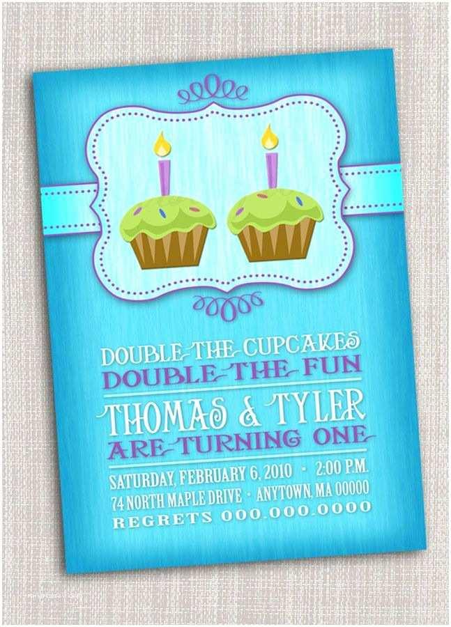 Twin Birthday Invitations Twins First Birthday Party Invitation Cupcake Twins