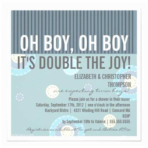 Twin Boy Baby Shower Invitations Modern Couples Twin Boy Baby Shower Invitation 5