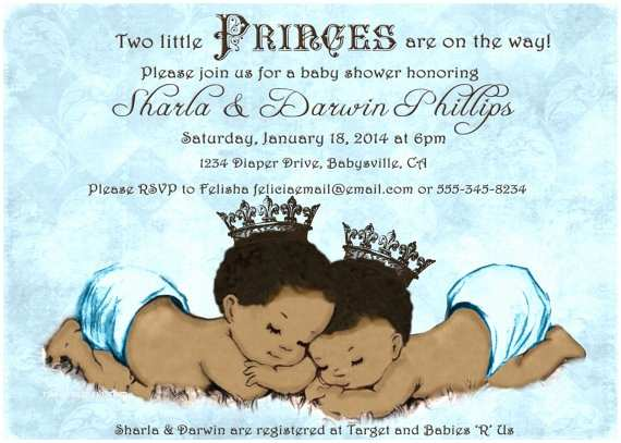 Twin Boy Baby Shower Invitations Prince Twins Baby Shower Invitation For Twin Boys