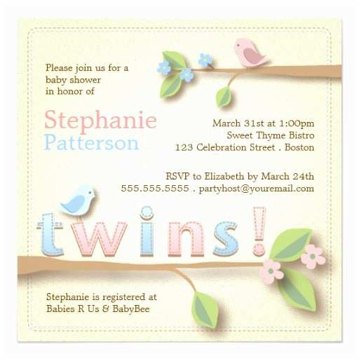 Twin Boy Baby Shower Invitations Sweet Bir Twin Boy Girl Baby Shower Invitation