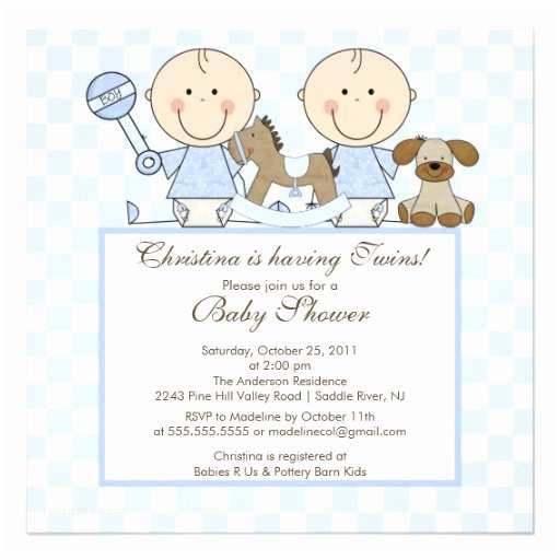 "Twin Boy Baby Shower Invitations Sweet Twin Boys Twins Baby Shower Invitation 5 25"""
