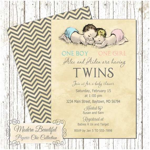 Twin Boy Baby Shower Invitations Twin Boy And Girl  Baby Shower Invitation