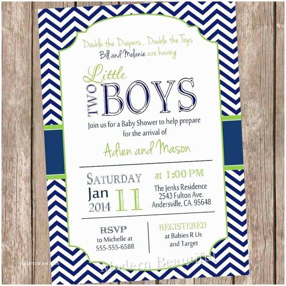 Twin Boy Baby Shower Invitations Twin Boys Baby Shower Invitation Navy and Lime Green