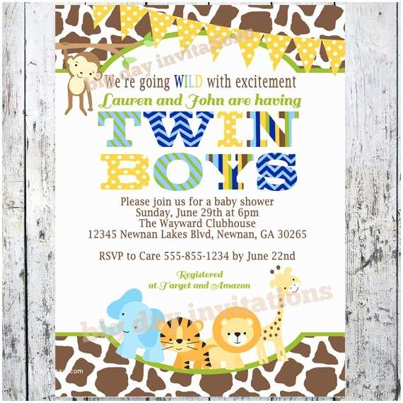 Twin Boy Baby Shower Invitations Twin Boys Safari Baby Shower Invitations Jungle Animal theme