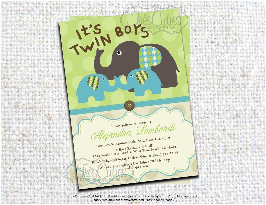 Twin Boy Baby Shower Invitations Twins Elephant Baby Shower Invitation Its Twin Boys Girls