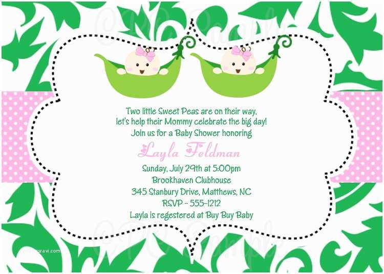 Twin Girl Baby Shower Invitations Baby Shower Invitation Ideas for Twins