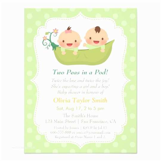 Twin Girl Baby Shower Invitations Cute Peas In A Pod Twin Baby Shower Invitations