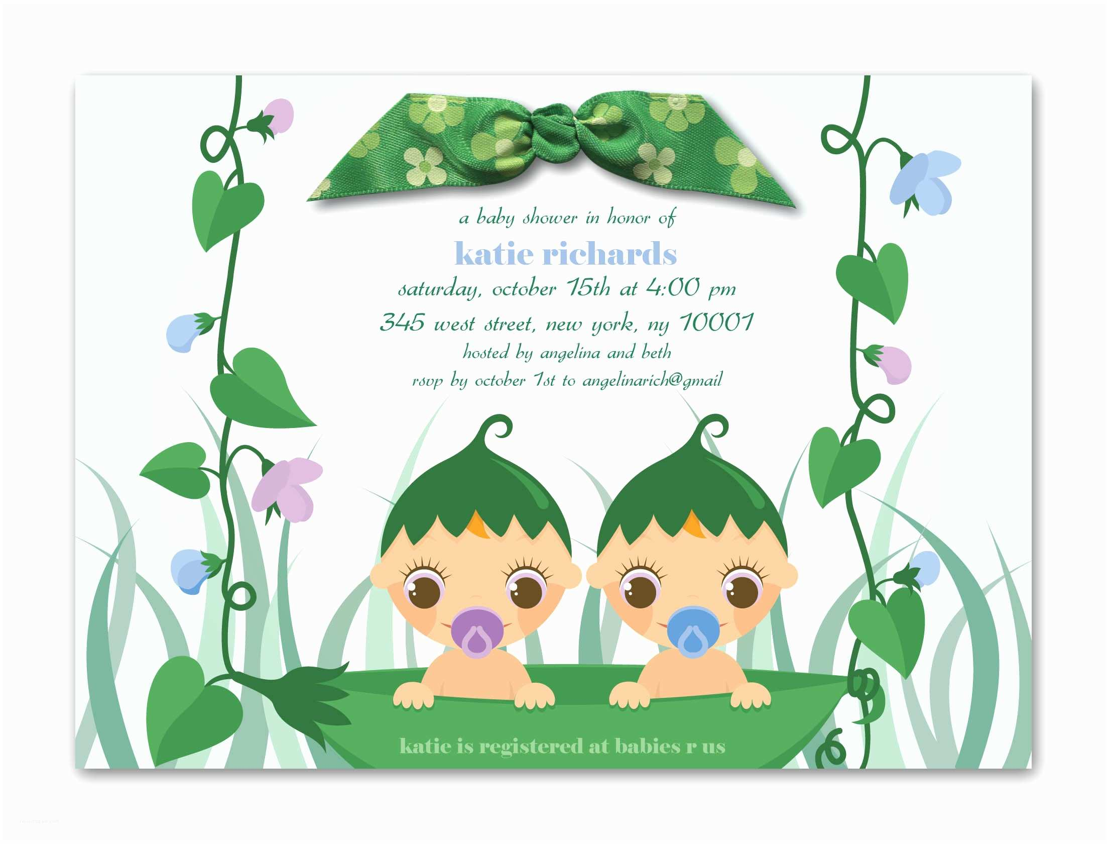 Twin Girl Baby Shower Invitations Design Twins Baby Shower Invitation