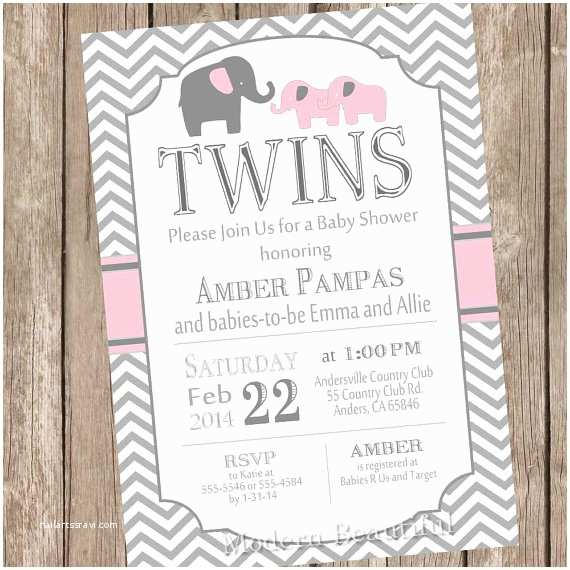 Twin Girl Baby Shower Invitations Elephant Twin Girl Baby Shower Invitation Twin Girl Girl