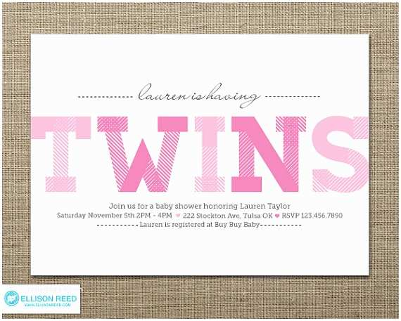 Twin Girl Baby Shower Invitations Items Similar to Twins Baby Shower Twins Baby Shower