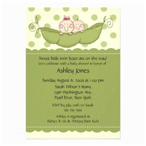 Twin Girl Baby Shower Invitations Pea Pod Twin Boy & Girl Baby Shower Invitations