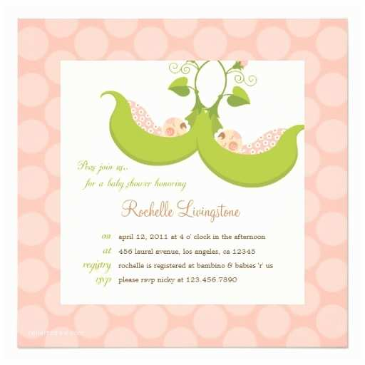 Twin Girl Baby Shower Invitations Peas In A Pod Girl Twins Baby Shower Invitation
