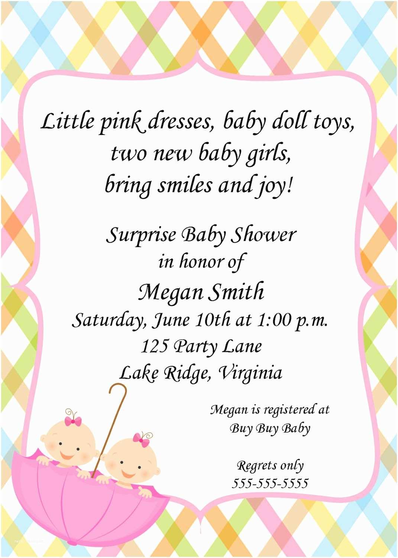 Twin Girl Baby Shower Invitations Twin Baby Girl Shower Invitations