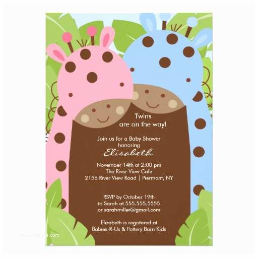 """Twin Girl Baby Shower Invitations Twins Giraffe Baby Shower Invitation Boy Girl 5"""" X 7"""