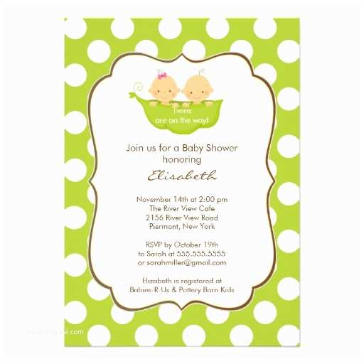 """Twins Baby Shower Invitations Twins Baby Shower Invitation Little Pea Pod 5"""" X 7"""