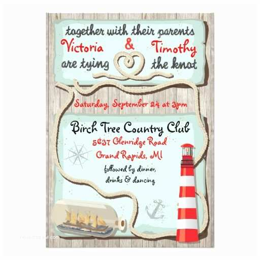 "Tying the Knot Wedding Invitations Nautical ""tying the Knot"" Wedding Invitations"