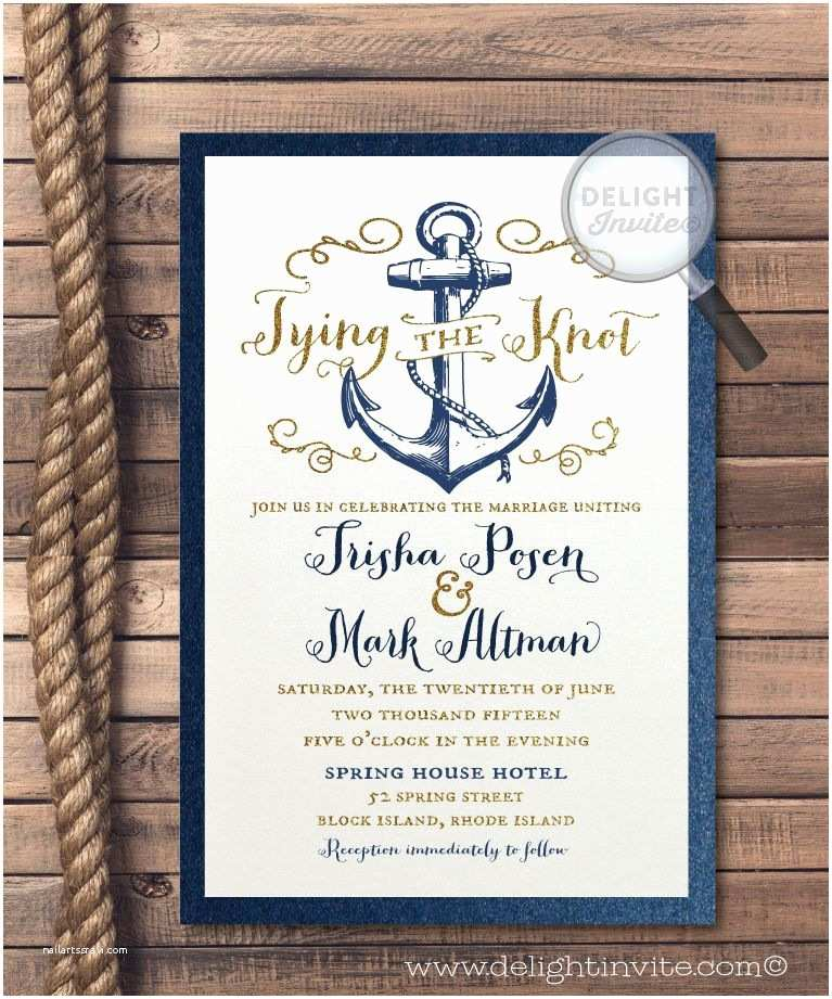 Tying the Knot Wedding Invitations Rustic Anchor Tie the Knot Wedding Invitations Nautical