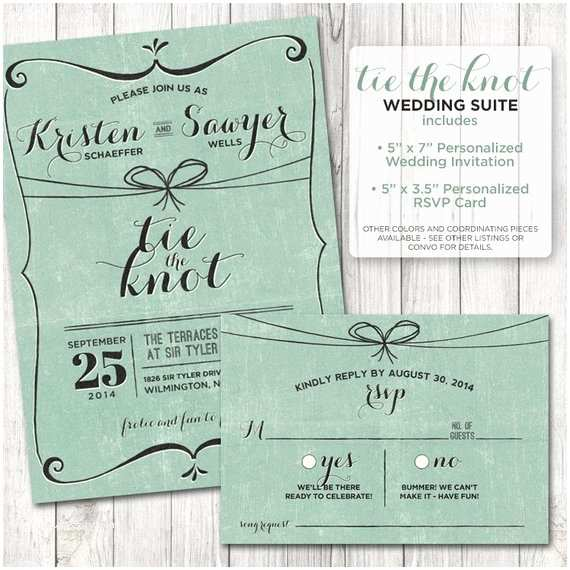 Tying the Knot Wedding Invitations Tie the Knot Rustic Wedding Invitation Set Rustic Wedding