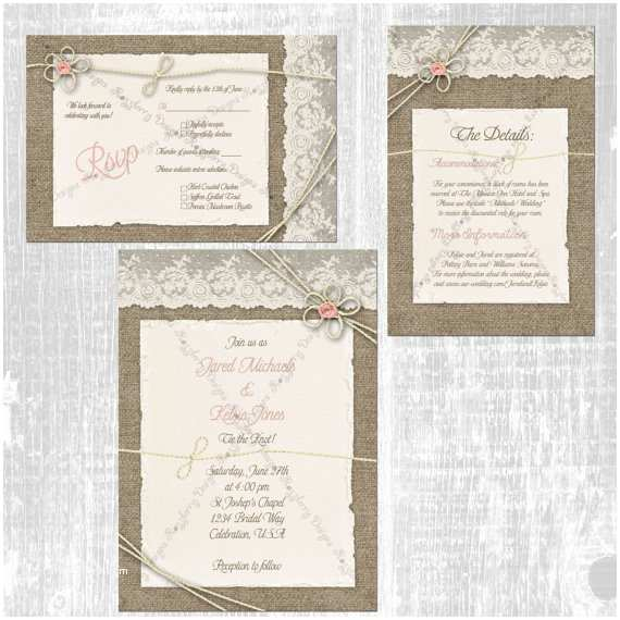 Tying the Knot Wedding Invitations Tie the Knot Wedding Invitation Set Burlap and Lace Wedding